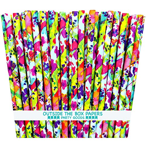 (Outside the Box Papers Watercolor Floral Paper Straws 7.75 Inches 75 Pack Pink, Purple, Blue, Yellow, Green)