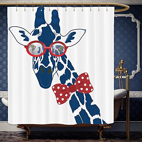 Wanranhome Custom-made shower curtain Giraffe Wildlife Animal Decor Fun Whimsical Funny Giraffe Wearing Hipster Sunglasses and BowtieNavy Red White For Bathroom Decoration 36 x 78 - Life Hacks Sunglasses