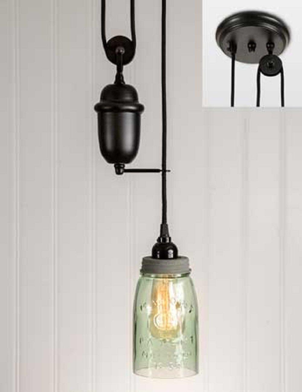 CTW Quart Mason Jar Pulldown Pendant Lamp - Barn Roof Lid