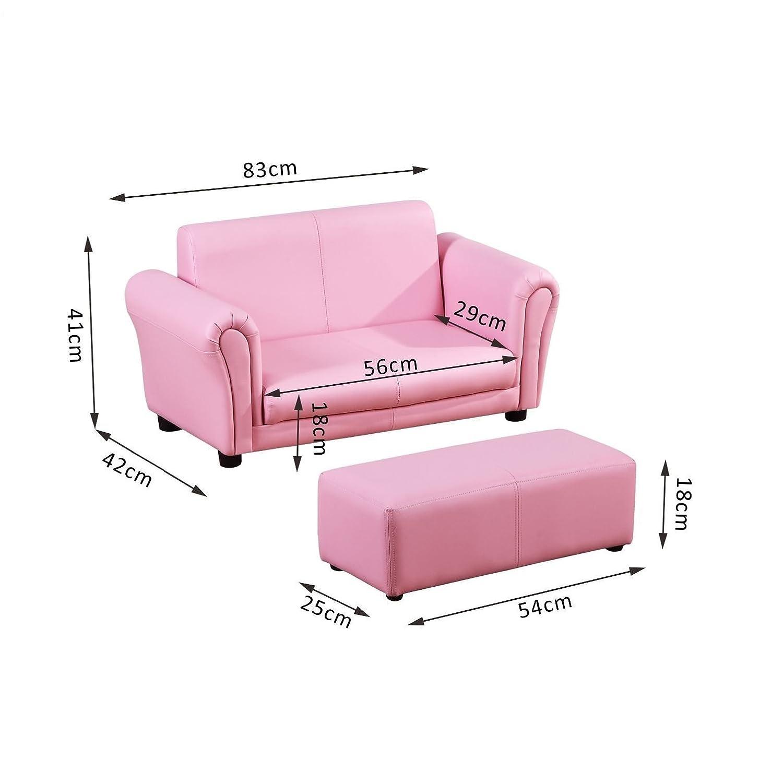 HOMCOM Kindersessel Kindersofa Sofa Sessel Kinder Softsofa Rosa