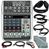 Behringer Xenyx Q802USB Premium 8-Input 2-Bus Mixer and Deluxe Bundle with Closed-Back Headphones + 7X Cables + Fibertique Cloth