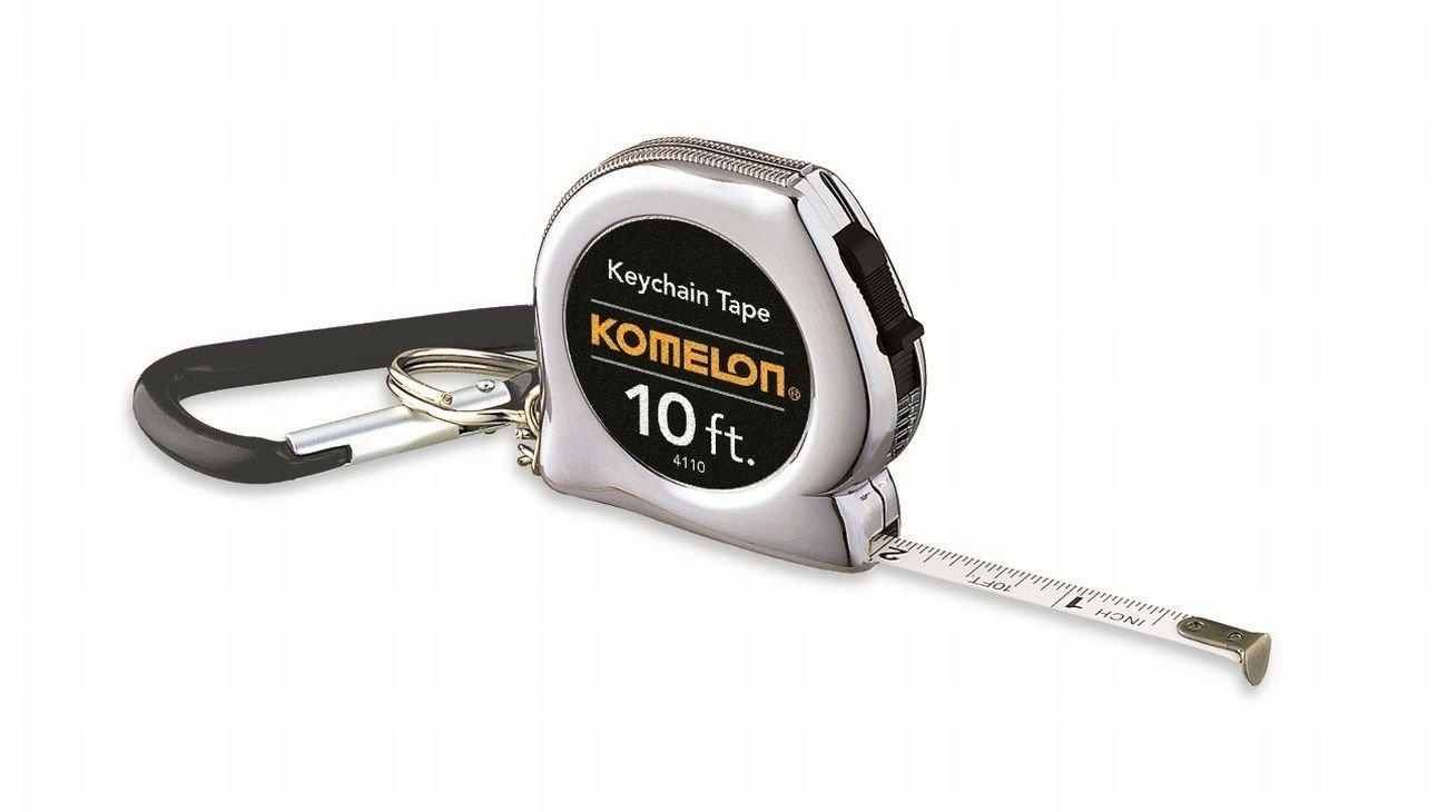 Komelon 4110 Acrylic Coated Steel Blade Keychain Tape Measure, 10-Feet by 1/4-Inch, Chrome, 3-Pack