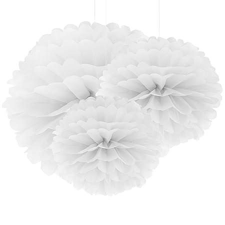 30er Weiss Papier Pompom Blumen Kugel 20 25 37cm Hochzeit Garten