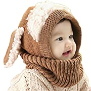 FEITONG(TM) Lovely Winter Baby Kids Girls Boys Warm Woolen Coif Hood Scarf Caps Hats (#A)