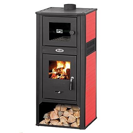 Estufa a leña 10 KW con horno acero roja calefacción casa Ambasador LM R