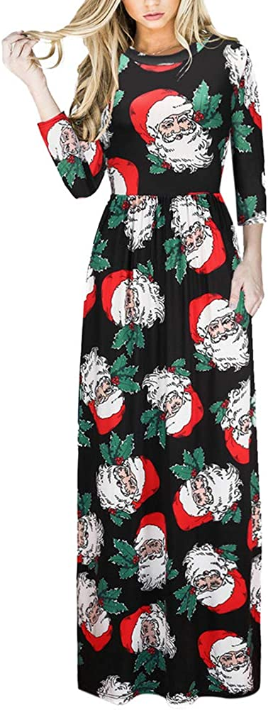 TALLA (EU48-50)XXL. Lover-Beauty Vestido Largo Floral Print Casual para Noche Fiesta Playa Fiesta Manga Larga Cuello Redondo Vestido Verano Cuello V Multicolor 2 (EU48-50)XXL