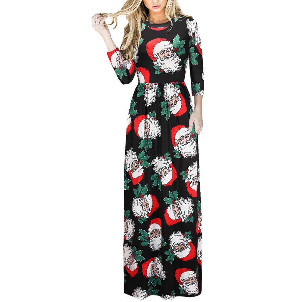 TALLA (EU50-52)3XL. Lover-Beauty Vestido Largo Floral Print Casual para Noche Fiesta Playa Fiesta Manga Larga Cuello Redondo Vestido Verano Cuello V Multicolor 2 (EU50-52)3XL