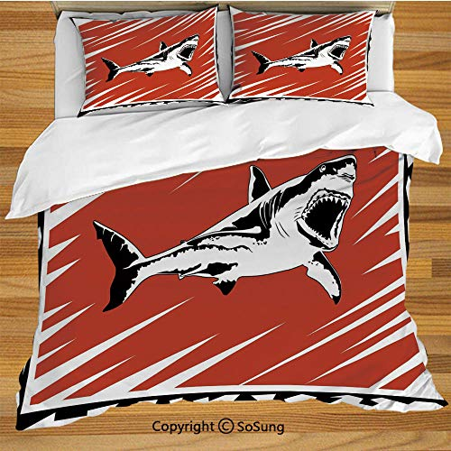 Shark King Size Bedding Duvet Cover Set,Killer Sea Creature Swimming in The Ocean in Grunge Stylized Graphic Decorative 3 Piece Bedding Set with 2 Pillow Shams,Black White Burnt Sienna