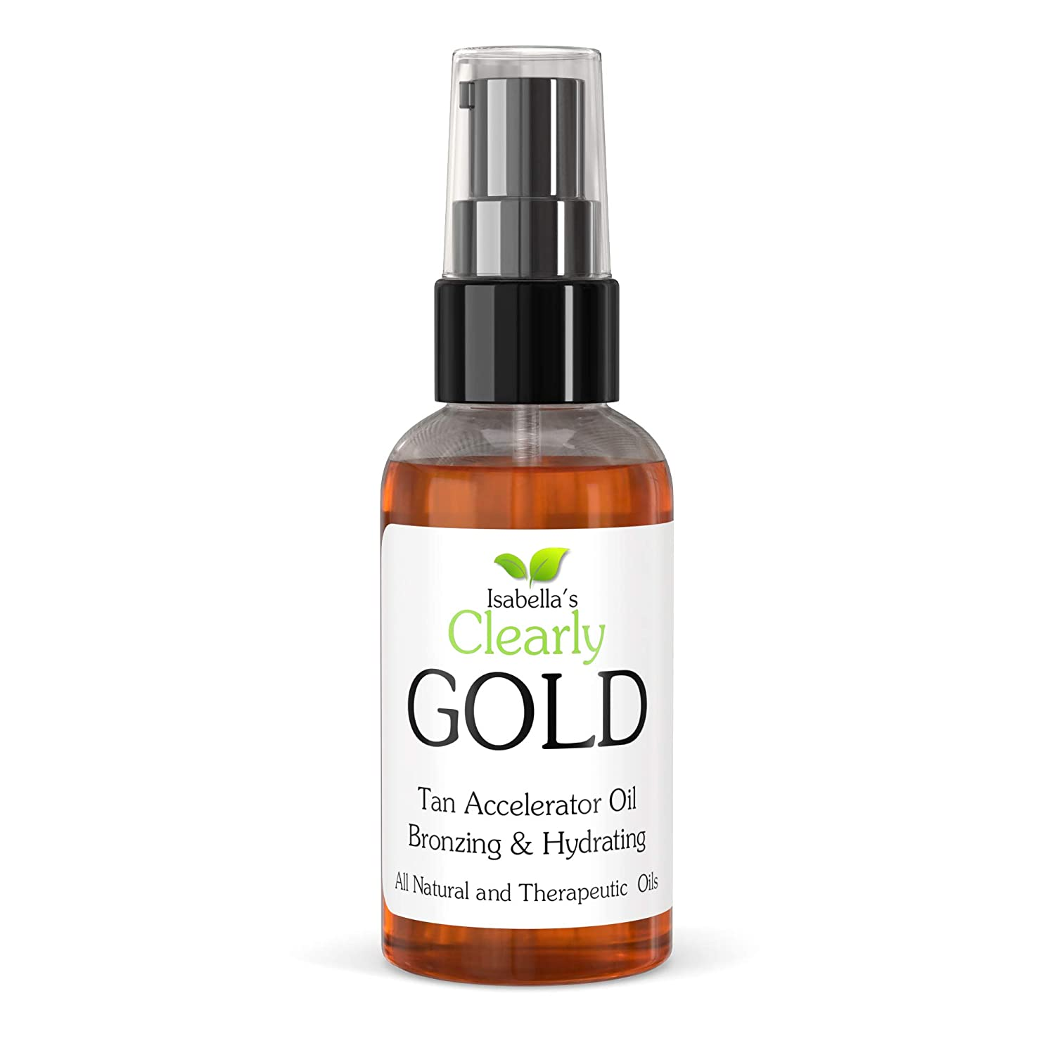 Isabella's Clearly GOLD, Best Natural Bronzing Tanning Oil. Moisturizing & Hydrating Sun Tan Accelerator, Healthy Bronze Glow with Olive, Carrot Seed, and Coconut Oils. 2 Oz