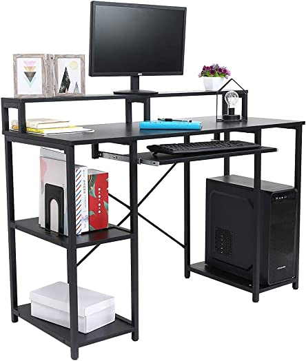 46.5 Computer Desk with Pull-Out Keyboard Tray Monitor Stand Riser CPU Stand Storage Shelves Desktop Desk, Workstation with Storage Shelves, Study Writing Table Home Office Desk