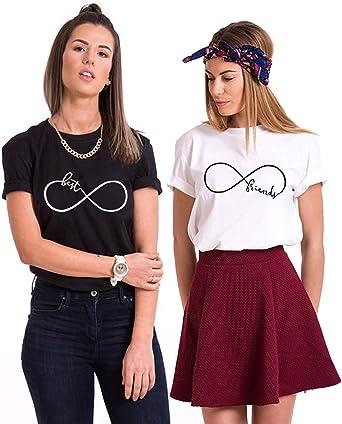 Mejores Amigas Camiseta para 2 BFF Camisetas Best Friends para 2 Mujer Impresión Sister T-Shirts BFF T-Shirt Hermana Camisa Verano Manga Corta Mujer 100% Algodón Negro Blanco 2 Piezas: Amazon.es: Ropa y