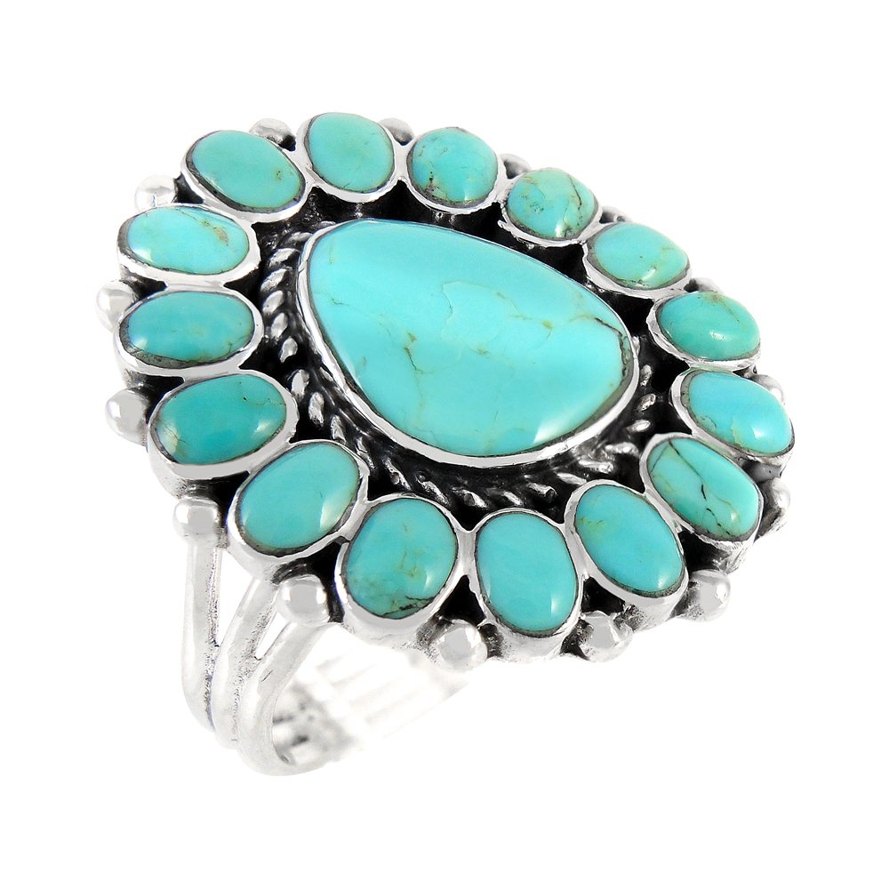 Turquoise Ring Sterling Silver 925 Genuine Gemstones Southwest Style (Turquoise, 8)
