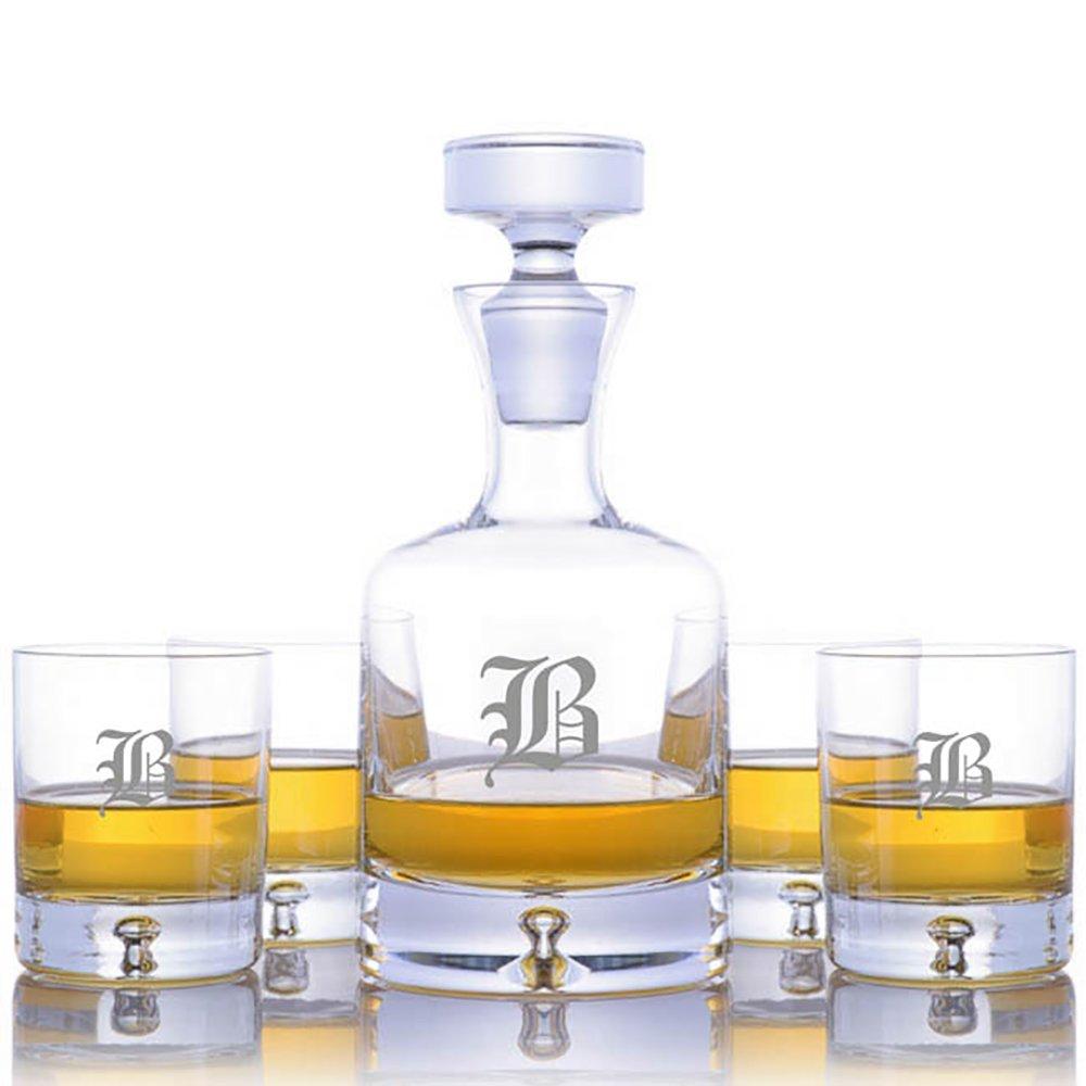 Personalized Ravenscroft Lead-free Crystal Taylor Whiskey Liquor Decanter & 4 Taylor Rocks Glasses Engraved & Monogrammed - Retirement Gift - Great Home Bar Addition (Custom 5 Piece Rocks Set)