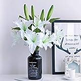 LAMEIDA 5PCS Fleurs Artificielles Branche Unique Fleur de lys Bouquet de Fleurs Bouquets de Mariage Décoration Intérieure (blanc-37cm)