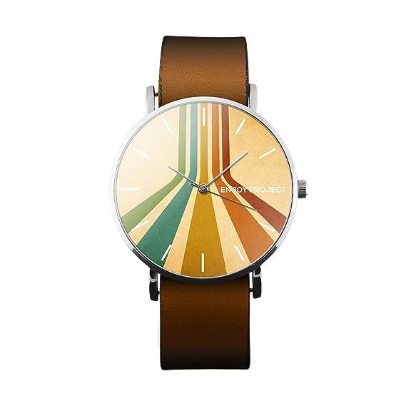Reloj de pulsera para hombre Mujer Enjoy Project Impresión Paper Color líneas colores Colors Vintage caja