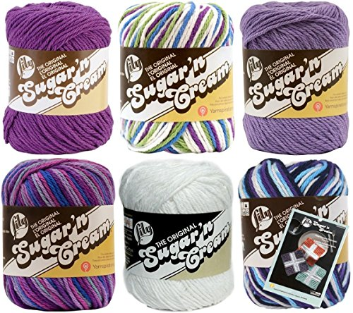 ily Sugar'n Cream Yarn 100 Percent Cotton Solids and Ombres (6-Pack) Medium Number 4 Worsted Bundle with Four Square Dishcloth Pattern (Variegated Cotton Yarn)