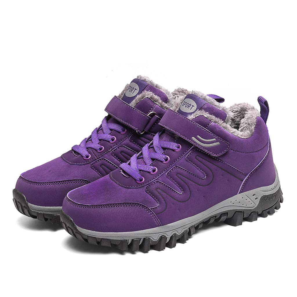 Women Hiking Shoes Trekking Low-top Plus Velvet Non-Slip Outdoor Walking Shoes (US:8.5, Purple) by Suoxo Women Shoes