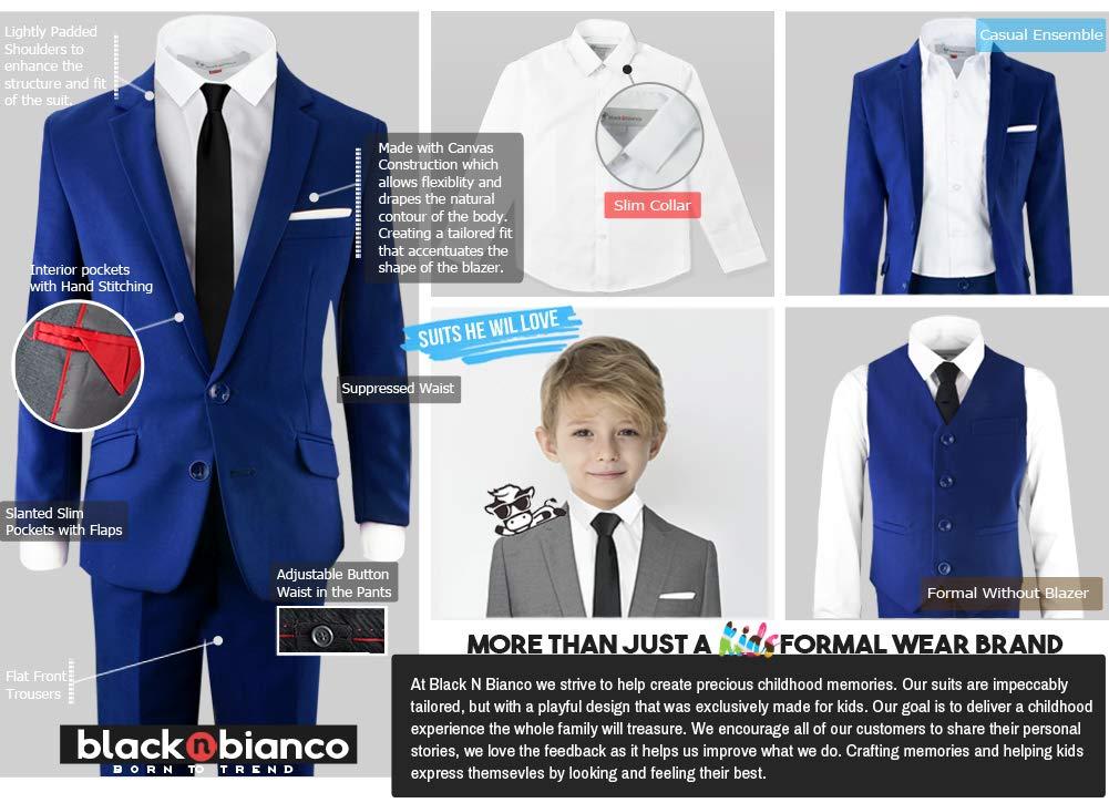 Black n Bianco Signature Boys' Slim Fit Suit Complete Outfit (7, Blue) by Black n Bianco (Image #7)