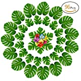 Anphsin 96 PCS Artificial Palm Leaves and Hibiscus Flowers - Tropical Leaves Luau Beach Party Decorations Table Room Decor for Wedding Baby Shower