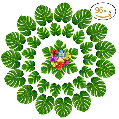 Anphsin 96 PCS Artificial Palm Leaves and Hibiscus Flowers - Tropical Leaves Luau Beach Party Decorations Table Room Decor for Wedding Baby Shower by Anphsin