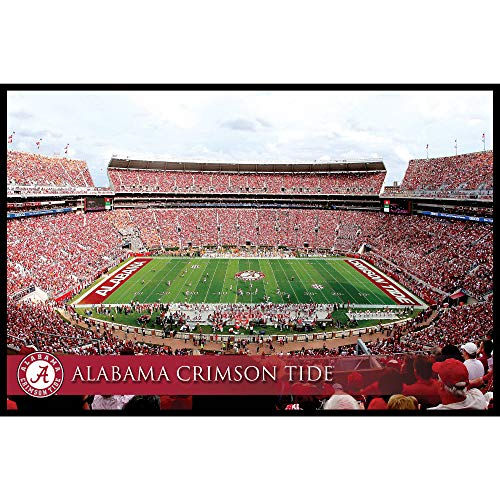 Artissimo Designs University of Aabama Crimson Tide Stadium Faded Banner Large Wall Art Canvas Picture ()