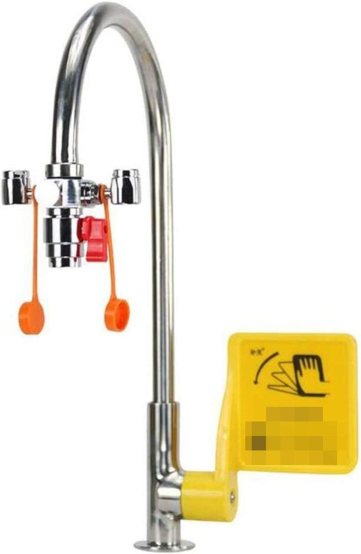 Montado-grifo a prueba de polvo de boca del doble espesado Estación Lavaojos de Emergencia con el grifo de válvula de control 12L / min Lavaojos flujo for Lab Industria fácil funciona de apertura y ci