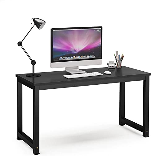 Tribesigns Computer Desk, 55 inch Large Office Desk Computer Table Study Writing Desk for Home Office, Black Black Leg