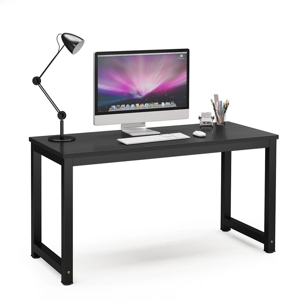 Tribesigns Computer Desk, 55 inch Large Office Desk Computer Table Study Writing Desk for Home Office, Black + Black Leg by Tribesigns (Image #1)