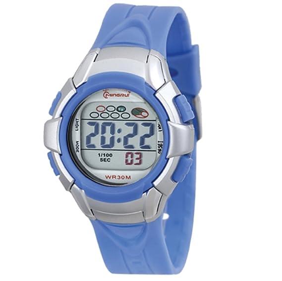 Reloj Concept - Reloj digital Mujer/Niño - Correa Plástico Azul Cielo - Esfera Redondo Fondo Gris - Marque Mingrui - mr8512-bleu-ciel: Amazon.es: Relojes