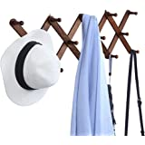 OROPY Wooden Expandable Coat Rack Hanger, Wall Mounted Accordion Pine Wood Hook for Hanging Hats, Caps, Mugs, Coats, X Shape,