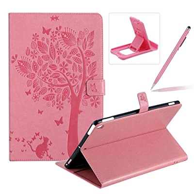 Flip Case for iPad 10.2 2020,Smart Leather Cover for iPad 7th Generation,Herzzer Retro Pretty Tree Butterfly Cat Design Wallet Folio Case for iPad 10.2 Inch 2020(7th Gen)+Stand+Stylus Pen,Pink: Musical Instruments