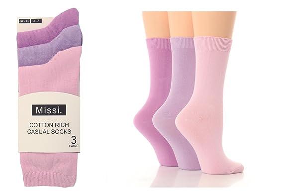 6 Pairs Ladies Girls Cotton Rich Missi Socks size  UK 4-7 EUR 36-42 Black School