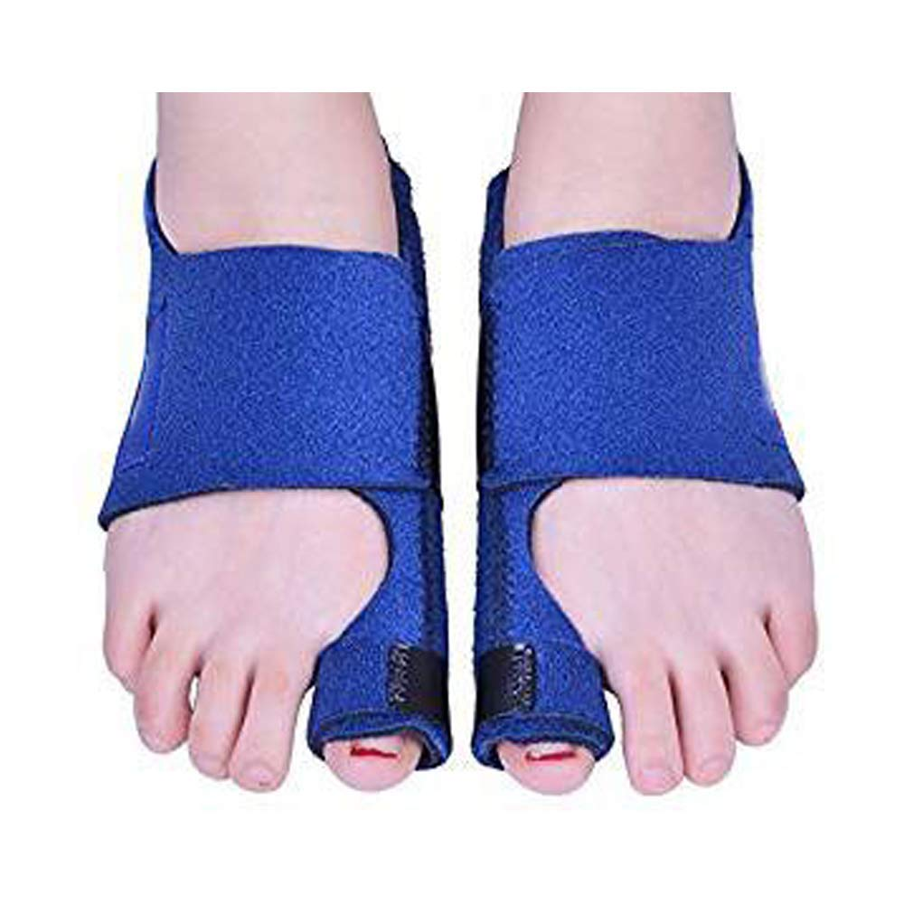 QETU Bunion Splint Toe Straightener Brace, Orthopedic Big Toe Straightener Adjustable Bunion Corrector 2 Pair,Blue