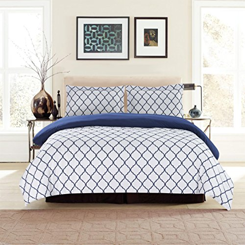 Hotel Luxury King Duvet Cover Set 1800 Count Egyptian Quality King Soft Top Quality Premium Bedding Collection, 3 Piece Luxury Soft, 2 Pillow Shams (King/California King, White/Blue) (Duvet Blue White)