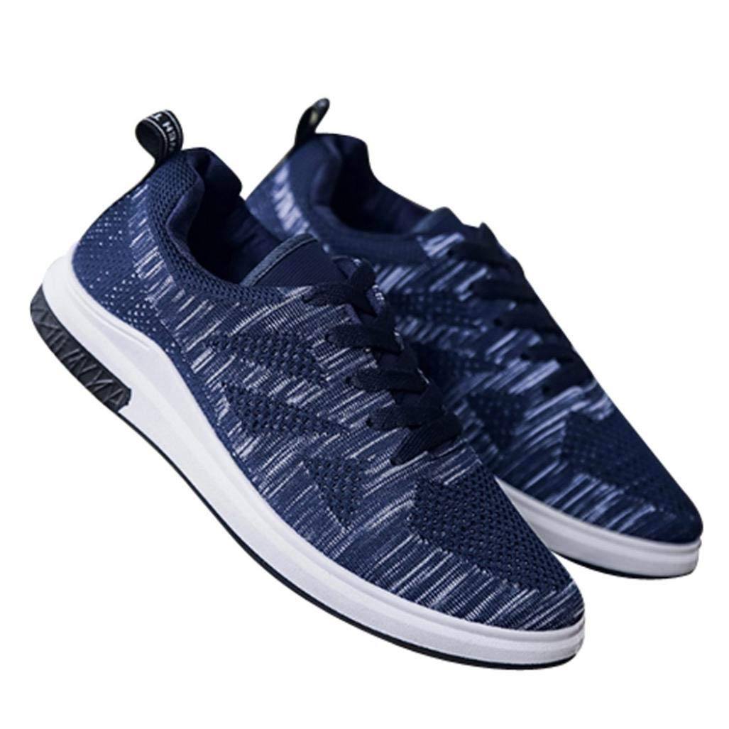 HTHJSCO Men's Athletic Shoes Casual Mesh Walking Sneakers - Breathable Running Shoes (44, Blue)