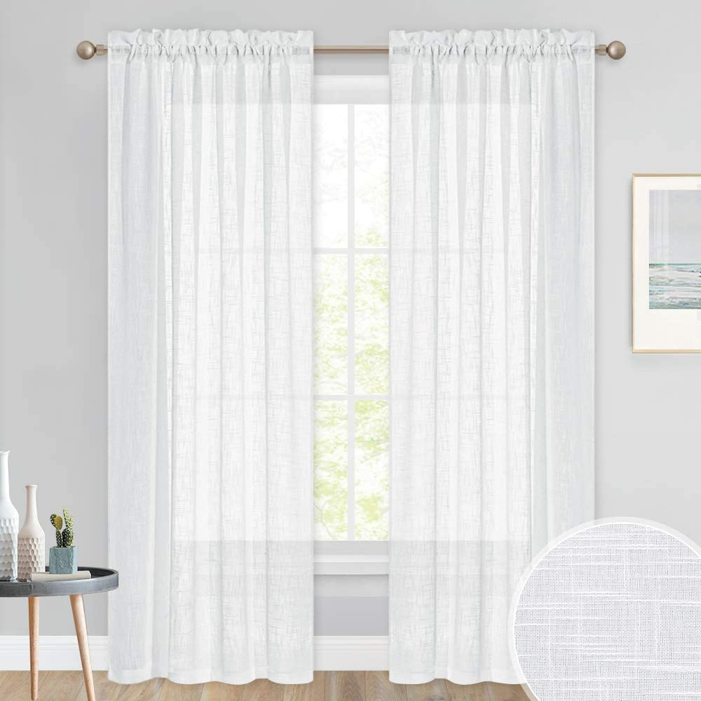 Pony Dance White Curtains Voile 84 Inch Drop Thick Semi White Net Curtains For Privacy Protected Slot Top Linen Look Panels For Living Room Bedroom 2 Pcs 52 X 84 Inch Amazon Co Uk