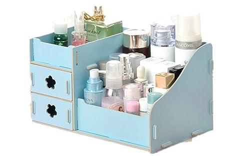 Fashion Creative DIY cajas de almacenamiento de escritorio oficina Lady madera de maquillaje joyas almacenamiento cajas
