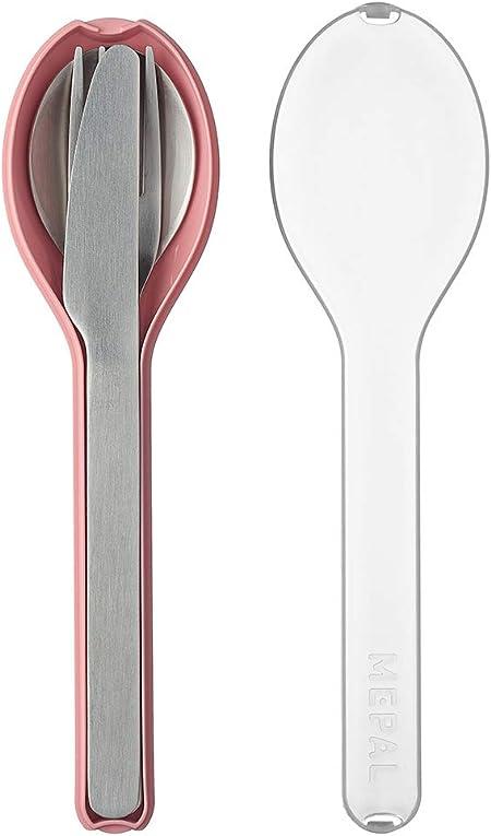 Mepal to Go Ellipse - Juego de 3 piezas de cubiertos para viaje, incluye cuchillo, tenedor y cuchara, en funda de plástico rosa, acero inoxidable, 19,5 x 5,1 x 2,3 cm: Amazon.es: Hogar