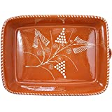 Vintage Portuguese Traditional Clay Terracotta Pottery Roasting Tray Made In Portugal (N.3 15 7/8 x 11 x 3 3/8'' Inches)