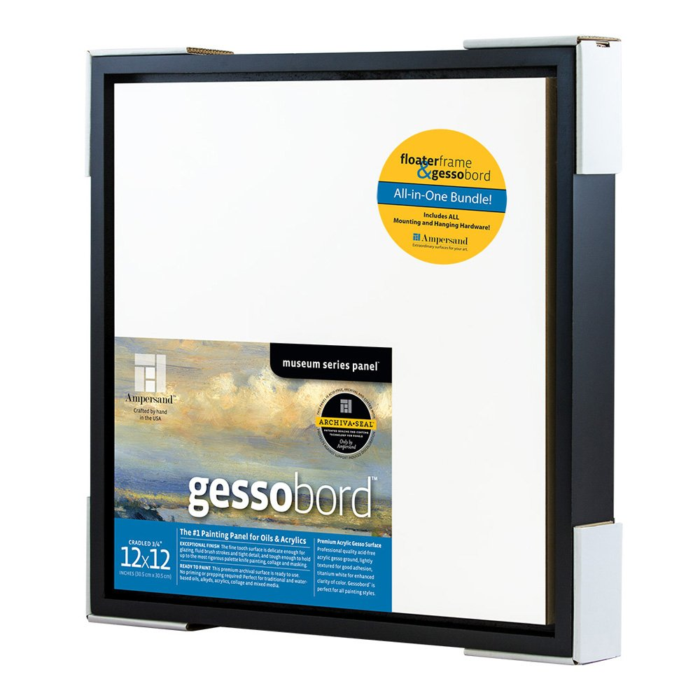 Ampersand Packaged Kit with 12x12 Inch Black Float Frame and 12x12 Inch Gessobord Panel (FK78B12BG)