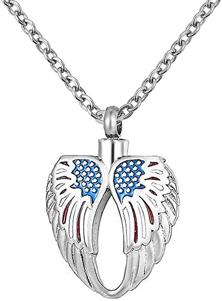 Epinki Jewelry Stainless Steel Silver Heart Square Urn Necklace for Ashes Cremation Keepsake Necklace