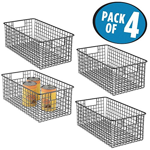 mDesign Farmhouse Decor Metal Wire Food Organizer Storage Bi