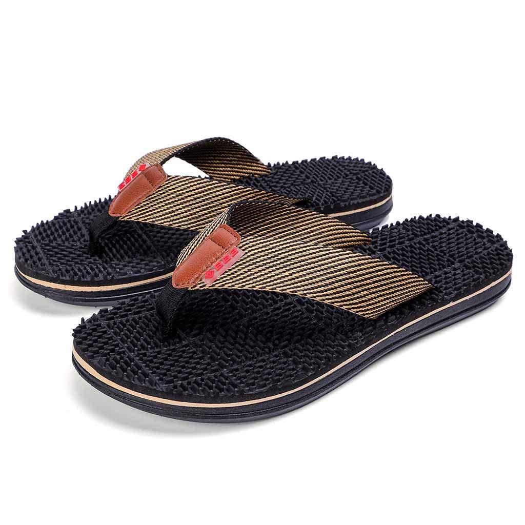 30f720dceba Amazon.com  Men Beach Shoes HOSOME Men s Casual Flat Flip Flops Slippers  Outdoor Massage Shoes  Clothing