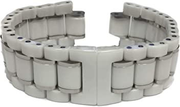Swiss Legend 12MM Stainless/Ceramic Silver/White Watch Band Strap Bracelet fits 45MM Identity