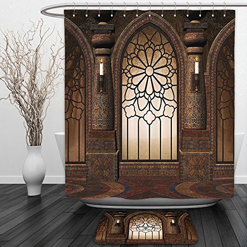 Vipsung Shower Curtain And Ground MatGothic Decor Collection Illustration of Antique Myst Gate with Oriental Islamic Pattern and Curvings Artistic Design BrownShower Curtain Set with Bath Mats Rugs by vipsung