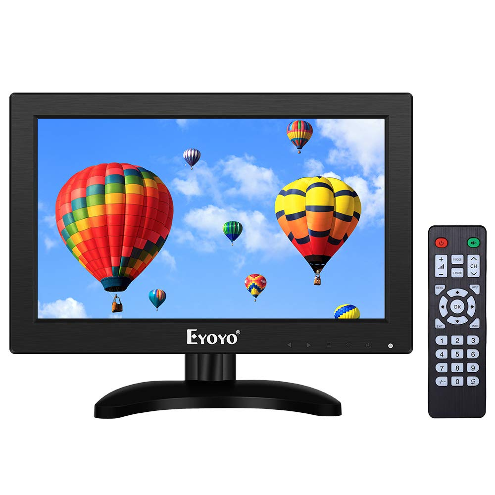 Eyoyo 12 inch HDMI Small TV Monitor, Portable Kitchen TV 1366x768 16:9 LCD Screen Support TV/HDMI/VGA/AV/USB Input with Remote Control, Wall Mount Bracket for DVD PC Raspberry pi Computer