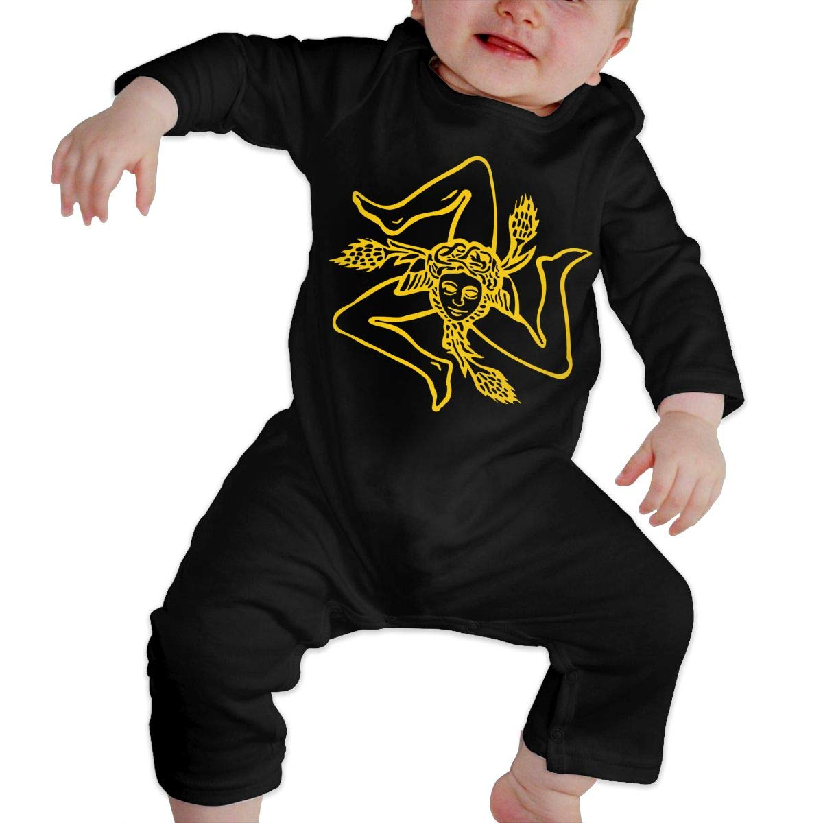 A1BY-5US Infant Babys Cotton Long Sleeve Flag of Sicily Climb Romper Funny Printed Romper Clothes