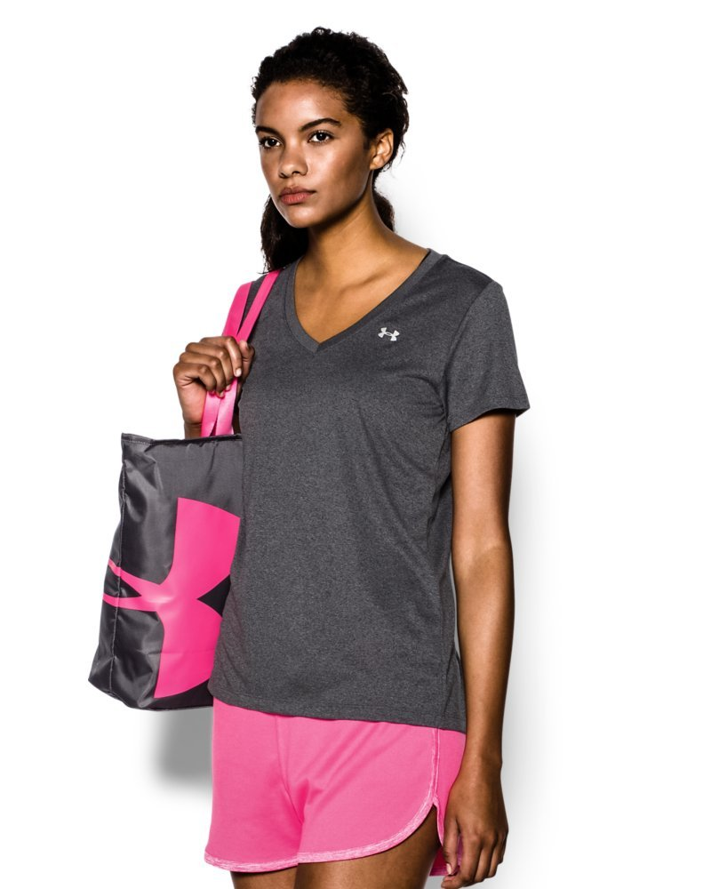 Under Armour Women's Tech V-Neck, Carbon Heather /Metallic Silver, Small by Under Armour (Image #3)