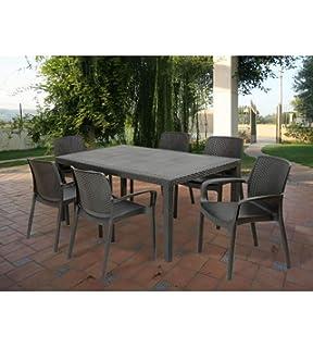 Chicreat - Mesa de comedor de aluminio y madera sintética para jardín, Color Negro/Plateado, 150 x 90 cm: Amazon.es: Jardín