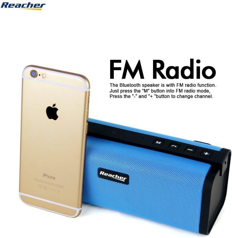 Reacher - Altavoz Bluetooth estéreo Premium 10W con radiador pasivo, Altavoz inalámbrico portátil con Radio FM, USB Entrada, Llamadas Manos Libres 3.5mm, AUX/Tarjetas y Ranura para Tarjetas TF, Azul: Amazon.es: Electrónica